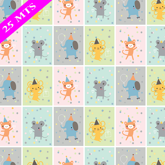 PAPEL DE REGALO PARTY SQUARES 76 CMS X 25 MTS