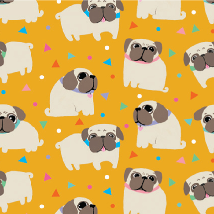 PAPEL DE REGALO PUG LOVE 76 CMS X 25 MTS