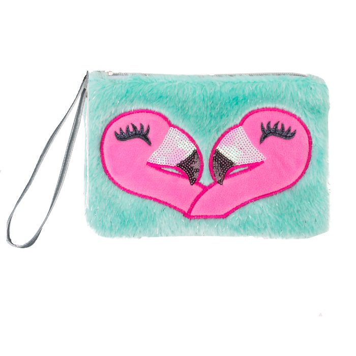 FLAMINGO FAUX FUR WRISTLET 4 PZ