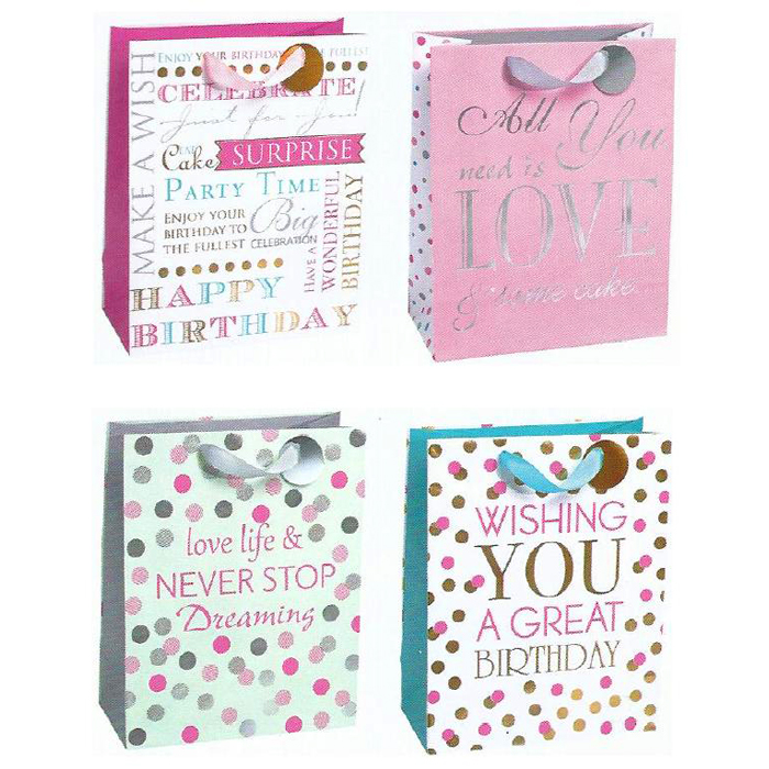 BOLSA DE REGALO BIRTHDAY GIRLY PARTY MEDIANA 12 PZ