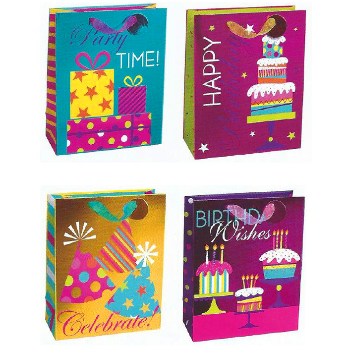 BOLSA DE REGALO BIRTHDAY BRIGHT CELEBRATION GRANDE 12 PZ