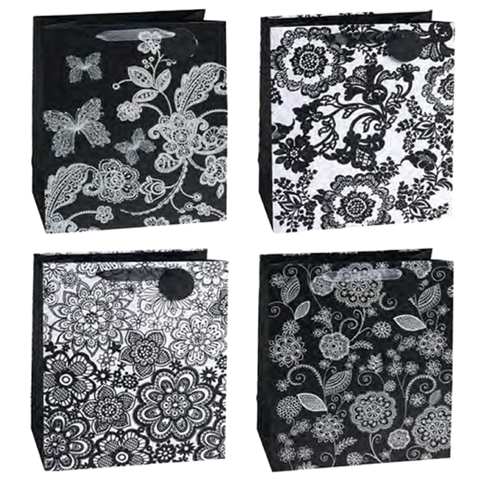 MEDIUM BAG BLACK AND WHITE FLORAL 12 PZ
