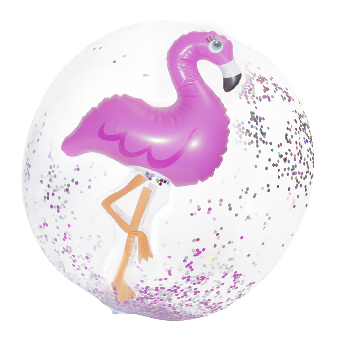FLAMINGO CONFETTI BEACH BALL 4PZ