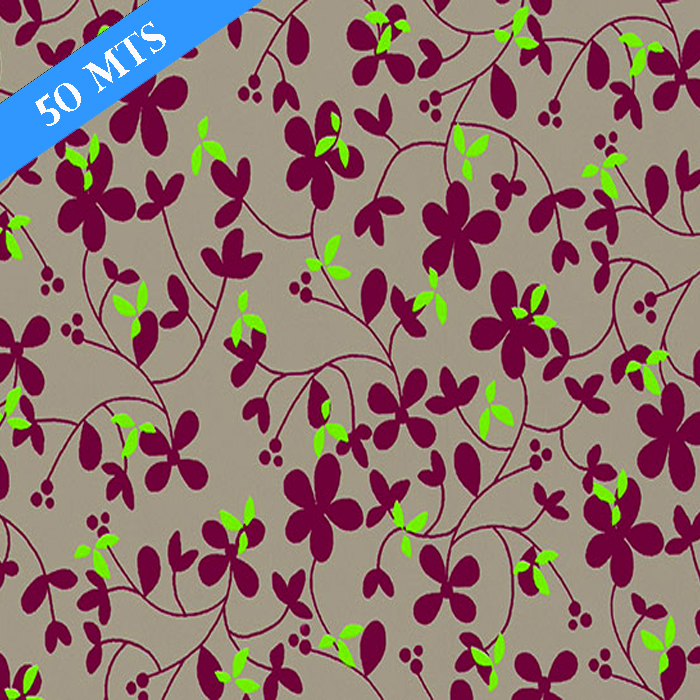 PAPEL DE REGALO FLOWER TAUPE 70 CMS X 50 MTS